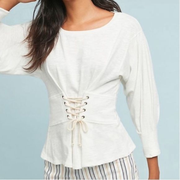 Free People Tops Anthropologie Eri Ali White Corset Top Sample Poshmark